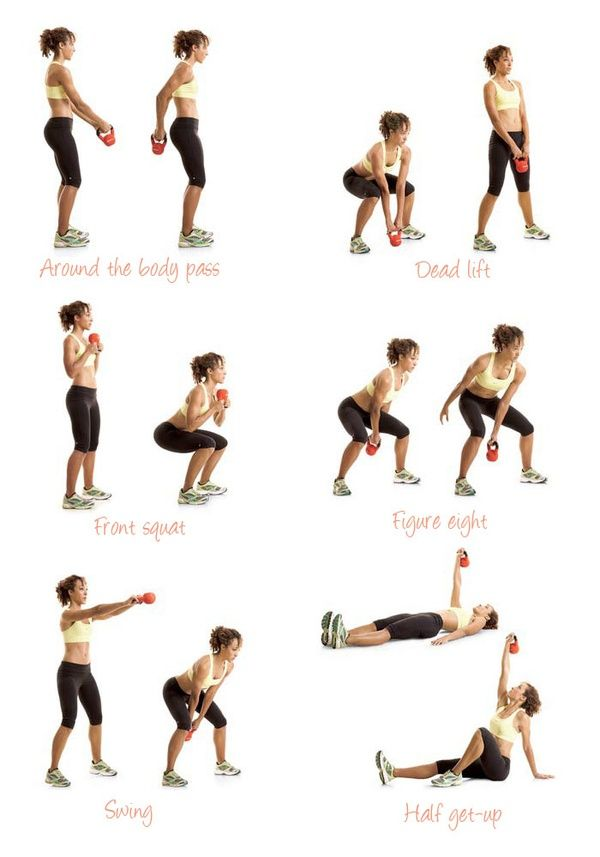 Kettlebell: around the body pass, dead lift, front squat, figure eight, swing, and half get-up. -- from previous pinner