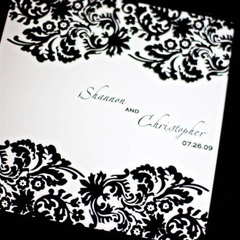 79 best black white wedding ideas images on pinterest bridal black and white damask invitation stopboris Gallery
