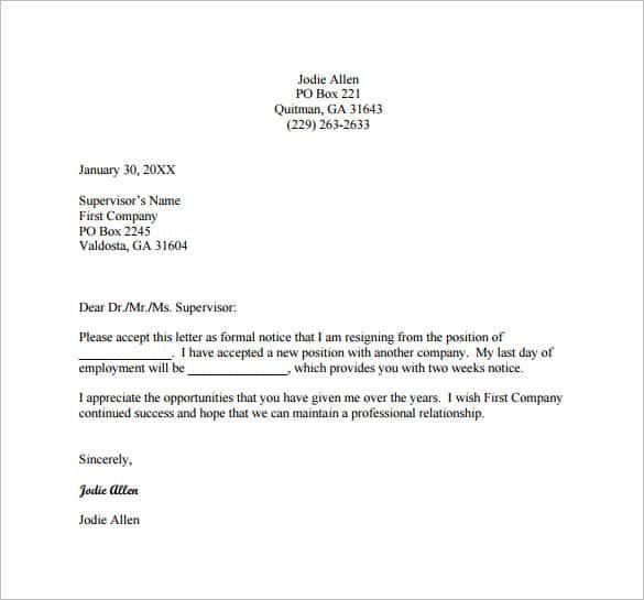 Resignation Letter Template Template Pinterest