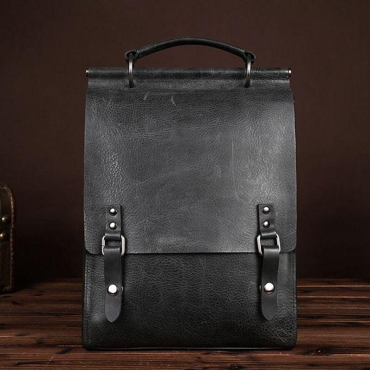 Genuine Leather Neutral Backpack For Men