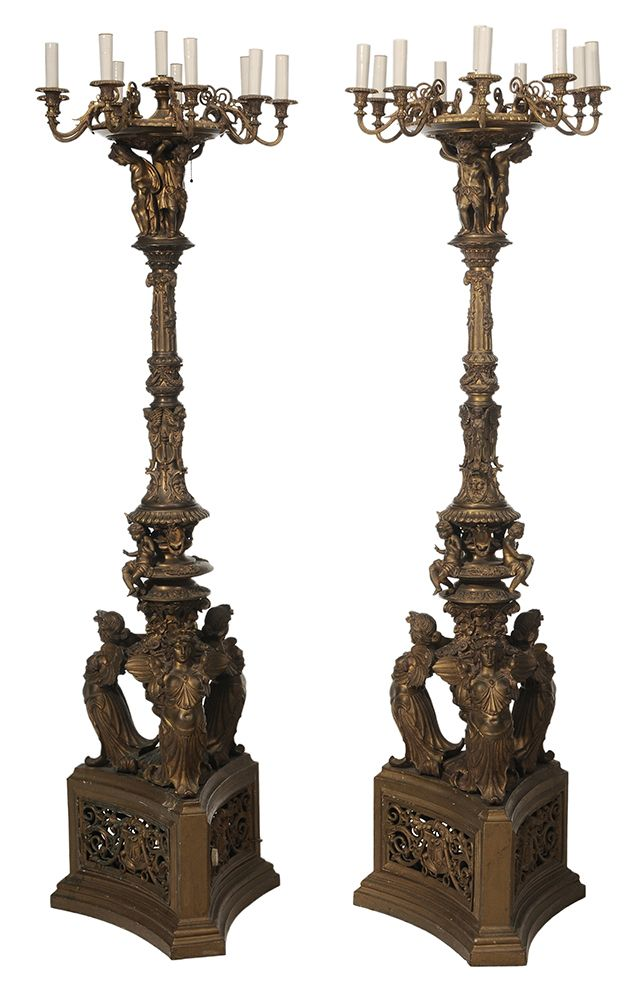 Impressive Pair Antique Empire Style Gilt Bronze Nine-Light Torcheres - Sold for $28,320 at Brunk Auctions