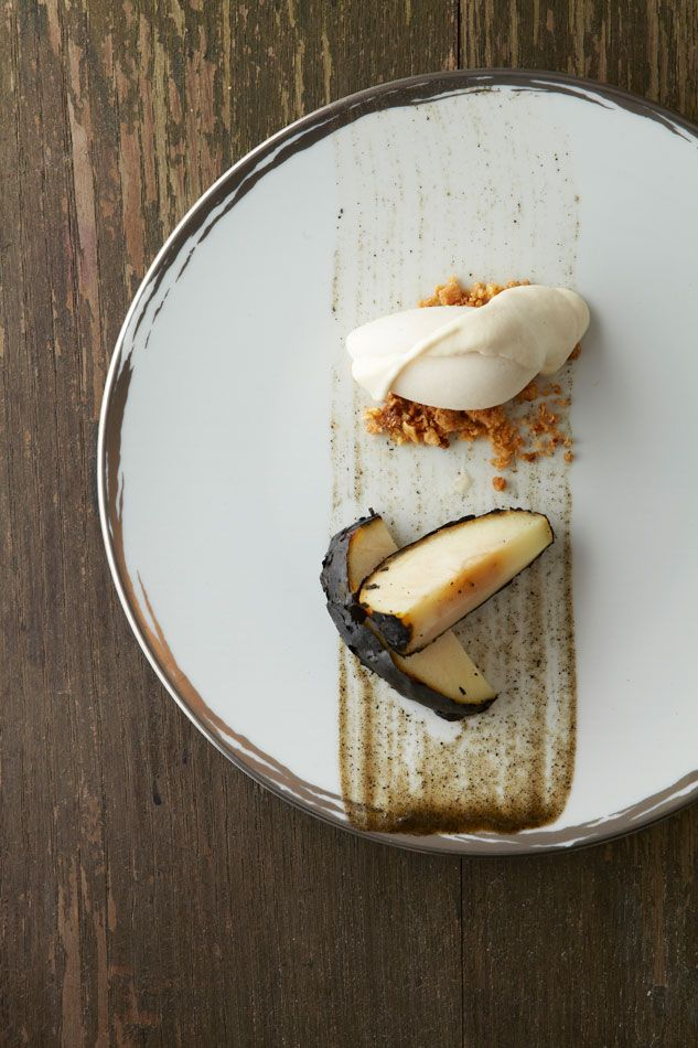 Biochar apple with Carolina golden rice ice cream by Dan Barber with Alain Ducasse at Plaza Athénée. Photo from the Dorchester Collection