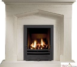 "Gallery Fireplaces Kendal Fireplace Suite comes in a choice of two finishes Portuguese Limestone as shown in the image or Jura Stone cotswold finish. This 54"" fireplace suite with detailed arch will really set of any inset gas fire or electric fire it is combined with."