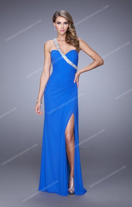 Asymmetrical Beaded Strap Embellished Side Slit Prom Gown by La Femme 21441