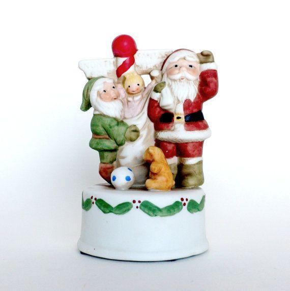 Christmas Music Box Porcelain Music Box Santa by BunnyFindsVintage