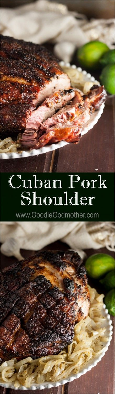 A traditional Christmas meal in Cuban households, this Cuban pork shoulder recipe is perfect for smaller gatherings! * Recipe on http://GoodieGodmother.com