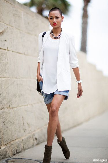 Try it with the CAbi Chick Jacket and Easy Tunic with the white Brando short,  worn super loose.