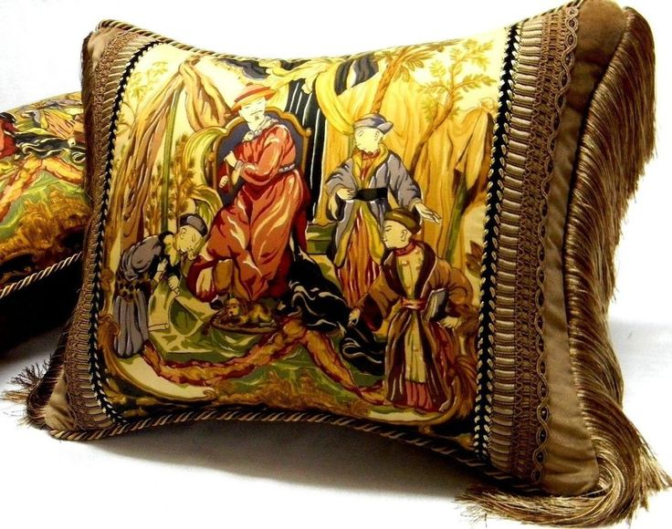 """Vervain fabric  """"Taiping Palace"""" chinoiserie Toile Designer accent Pillow    eBay"""