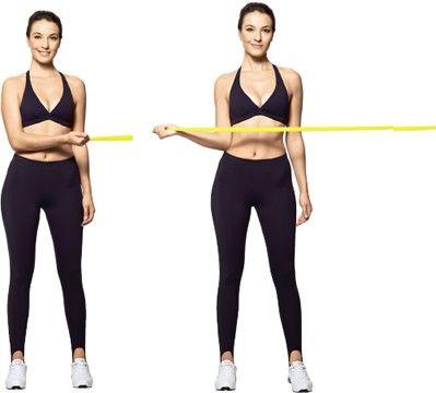 Manguito rotator externo De pé, pernas semiestendidas e afastadas na largura do quadril, braço esquerdo estendido ao longo do tronco e direito lexionado na altura da cintura, segurando uma das extremidades da faixa. Rotacione o braço direito para fora, até ultrapassar a linha do ombro, mantendo o cotovelo junto ao tronco. Volte devagar. No final da série, inverta o lado.