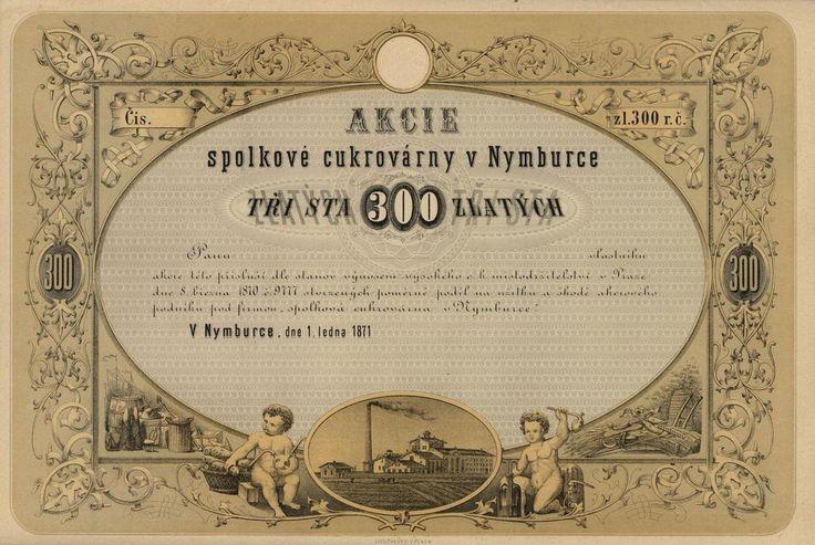 Spolková cukrovárna v Nymburce (Zuckerfabriks- Gesellschaft in Nimburg). Akcie na 300 Zlatých. Nymburk, 1871.