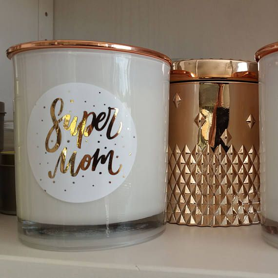Super Mom Hand poured Soy Candle with Rose Gold Label
