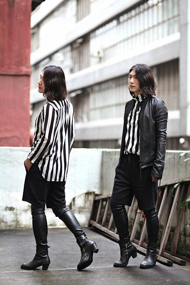Get this look: http://lb.nu/look/5038706  More looks by Philip Mak: http://lb.nu/vanvan417  Items in this look:  H&M Striped Shirt, H&M Shorts, Helmut Lang Leather Leggings, Rick Owens Leather Boots, Ekam Leather Jacket