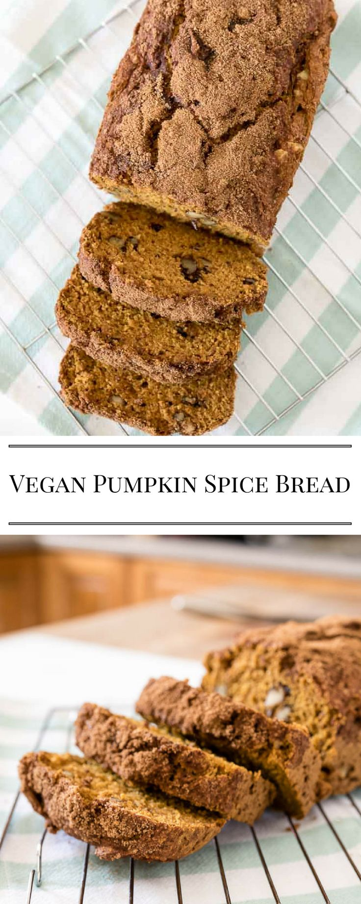 Vegan Pumpkin Spice Bread - the whole house smells so good when this bread is baking!  Love the crunchy sugar topping.