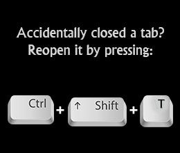 Keyboard shortcut to reopen a closed tab