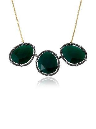 74% OFF Riccova Triple Green Agate Chain Necklace