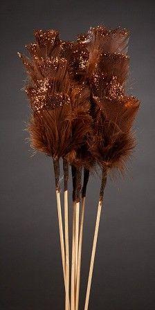 Komplet 6-u pików piór 34 cm brokatowanych brązowych
