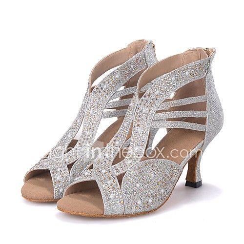 Women's Dance Shoes Latin Leatherette Flared Heel Customizable 2017 - $35.25