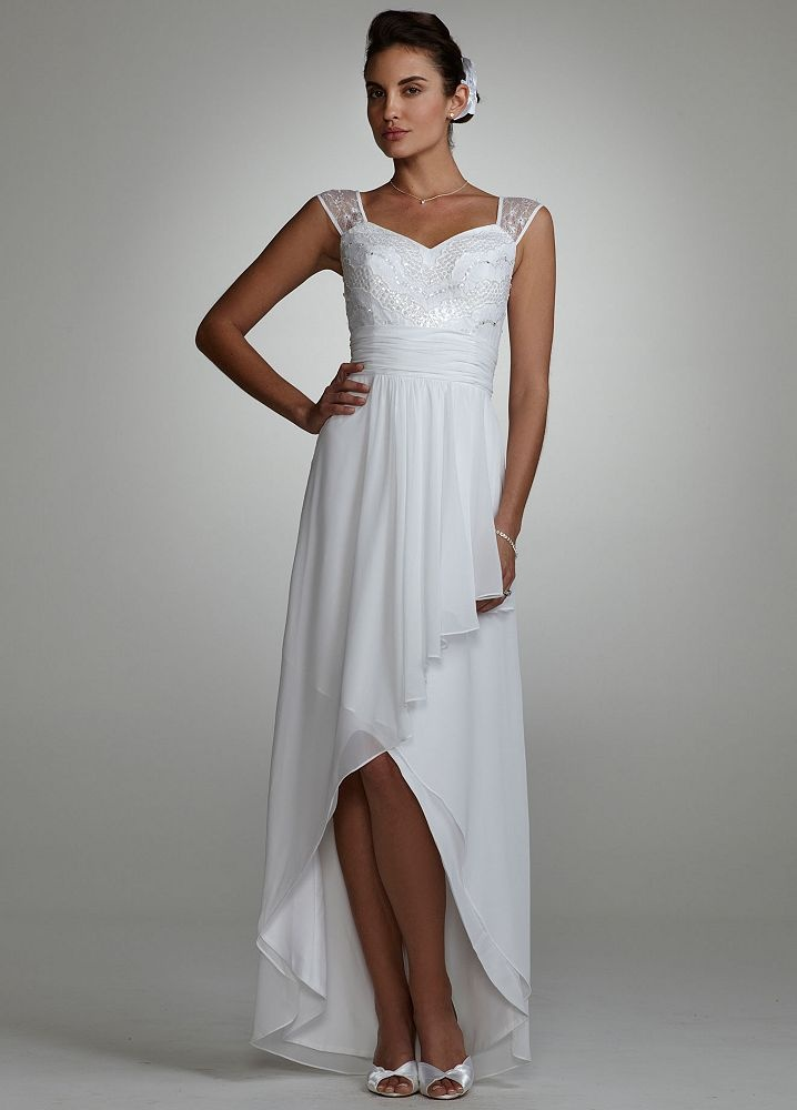 high low wedding dress with sleeves david s bridal wedding dress cap sleeve beaded high low 4792