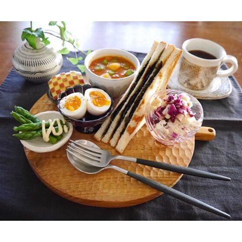 nagomi0220マツコの純喫茶グルメの世界 を観て食べたくなった  #のりトースト  作ってみました  #海苔トースト #ミネストローネ #半熟玉子…