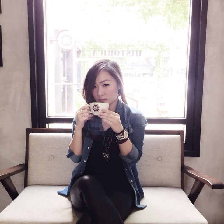 Coffee time, im wearing casual shirt by @stradivarius and leather legging.  Follow my instagram account @agnes_siauw