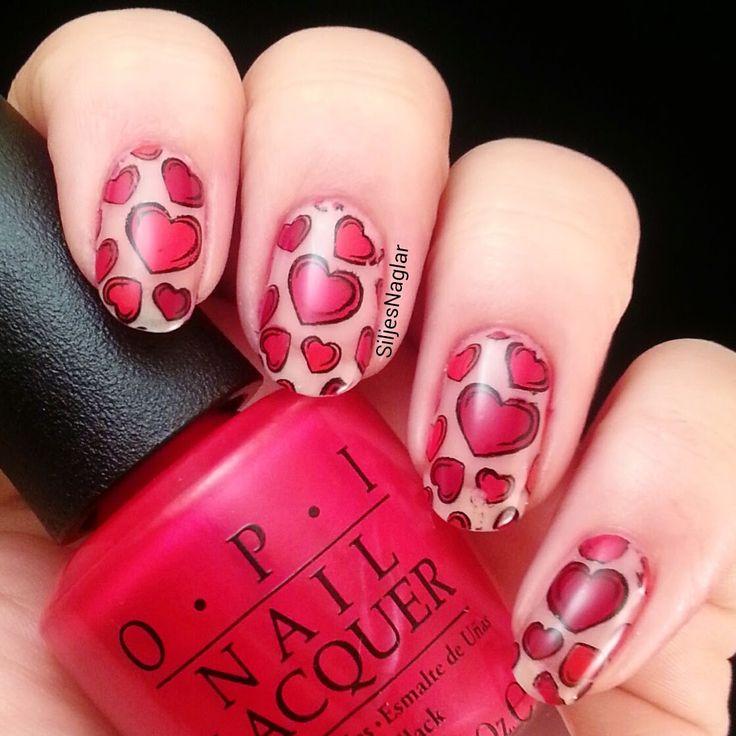 Valentines day nails, red hearts,  OPI - Coca Cola red, OPI - OPI red och OPI - Malaga wine, BM-317. Alla hjärtansdag naglar