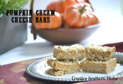 Creative Southern Home: Pumpkin Cream Cheese Bars