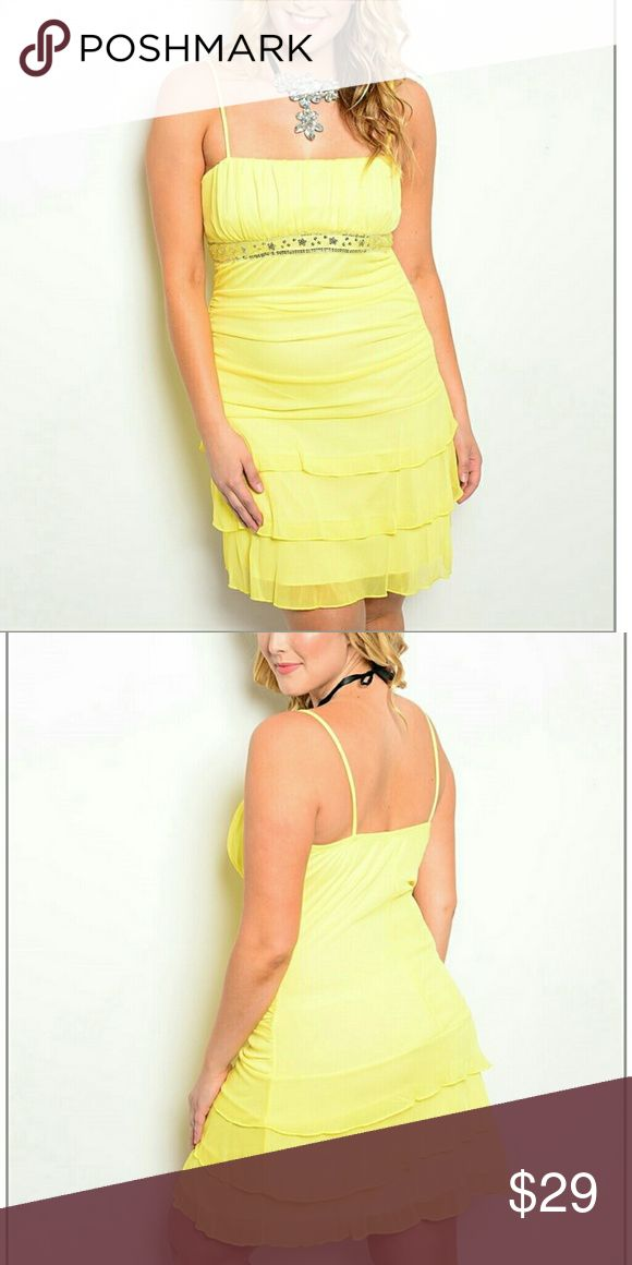 Beautiful Plus Size Yellow Dress Beautiful Plus Size Yellow Dress.  USA Made. 100% polyester. Dresses Midi