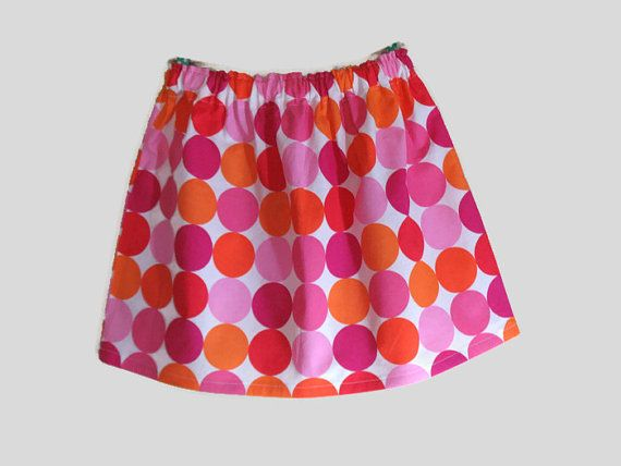 Girls Skirt Twirl Skirt Pink Dots Big Dots Pink Orange Ready to Ship!