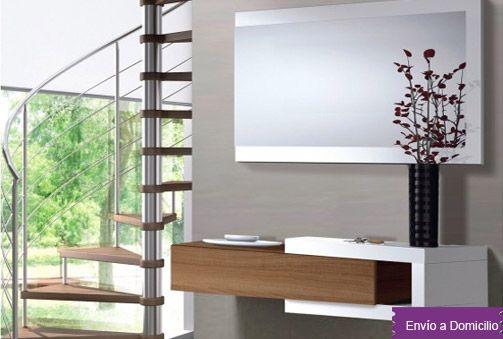 Moderno mueble recibidor compuesto por cajón y espejo Deskontalia