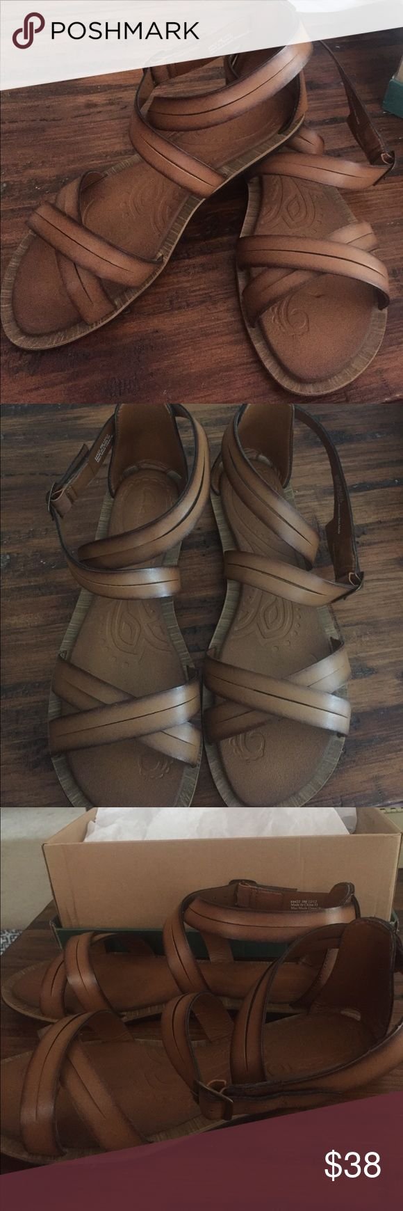 Brand New Clarks Sandals Size 9 Amazing leather strap Clarks Sandals brand New in the box! They strap around the ankle and are the perfect chesnut brown color! Clarks Shoes Sandals