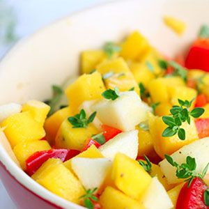 This tropical fruit salsa is sweet and zesty. It uses a few different tropical fruits, but feel free to make some changes, replacing with favorite fruits to make it your own. And, if certain ingredients cannot be found, here are some helpful suggestions on the salsa ingredients and substitute fruits