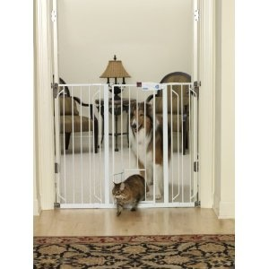 Carlson 0941PW Extra-Tall Walk-Thru Gate with Pet Door, White  I love that it keeps the dogs out but allows that cats in!