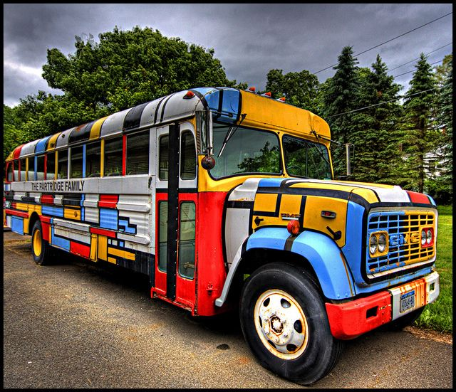 The Partridge Family bus...come on get HAPPY! :)  I bet they were a little too happy at times, especially the one whom painted the bus