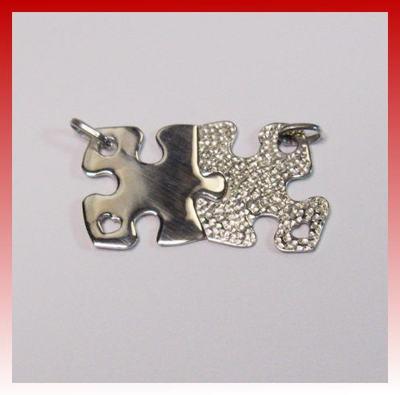 Collana Ciondolo puzzle lui/lei argento bulinato CUORE 925 fidanzati/amici