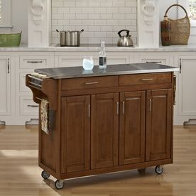 Home Styles 48.75-in L x 17.75-in W x 34.75-in H Cottage Oak Kitchen Island with Casters and Steel Top