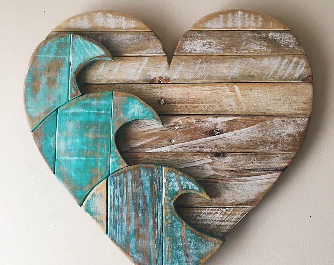 Large Blue Wave 28 Heart Reclaimed Wood Pallet Rustic Etsy Wood Pallets Wood Wood Hearts