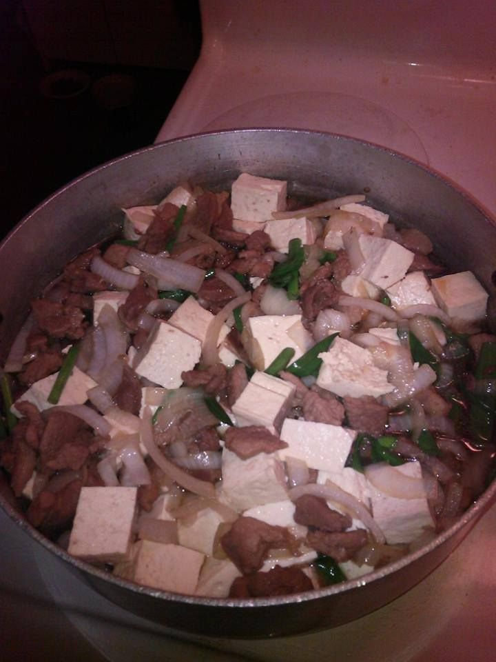 Pork Tofu Made by Ono Kine friend Vickie Hayashida.  She learned this from her mama, no recipe just a lot of lovin'. Mahalo for sharing!  Sharing a recipe from Hawaiian Electric Company: Submitted by: Residential Services Division Orgainization: Hawaiian Electric Company http://www.hawaii.edu/recipes/pork/porktofu.html