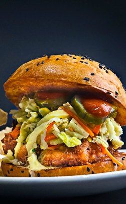 A towering force of beauty: The Kin Shop (NY) Thai Fried Chicken Sandwich