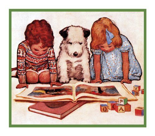 Young Boy, Girl and Dog Reading By Jessie Willcox Smith Counted Cross Stitch or Counted Needlepoint Pattern