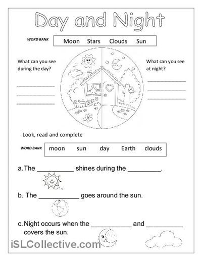 Day And Night Printable Worksheets For Kindergarten #1