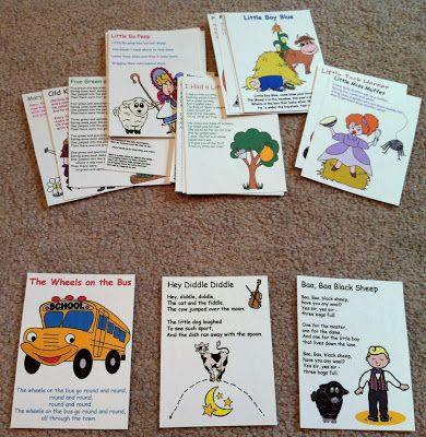 Tons of nursery rhymes and songs with printable templates