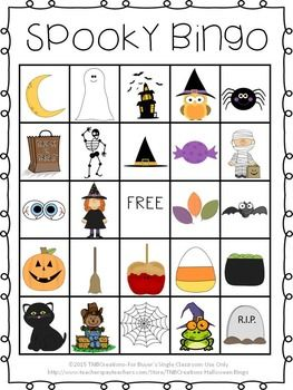 Halloween Bingo: Your students will love playing Halloween BINGO on Halloween!  In this product you will receive the following: 30 DIFFERENT printable Halloween BINGO cards (25 spaces of pictures, including 1 free space on each card) Calling Cards with each picture and words that say the name of the image to be cut out. So much fun for primary students on Halloween!