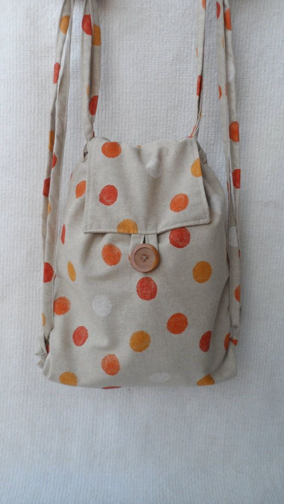 Handmade rucksack, fabric backpack, string backbag, fashionable, unique and sustainable,custom made service available