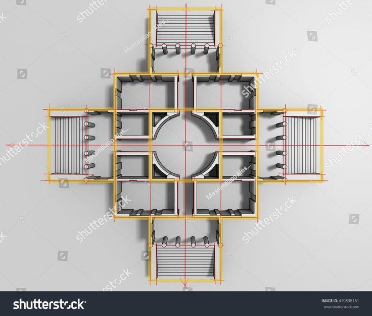 #3d #interior #rendering with #proportion #scheme of #Italian #Villa