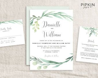 Watercolor Greenery Invitation Template | Greenery Wedding Invitation | Wedding Invitation Templates | Rustic Wreath Wedding Invitation Are you a wedding supplier? Sign up to our reviews and directory for FREE today! www.theweddingsuppliernetwork.co.uk