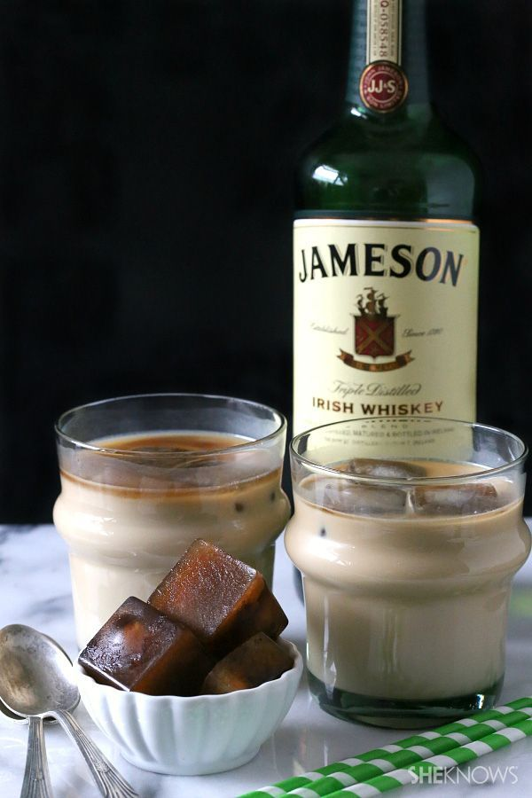 Double the buzz: Iced Irish coffee with coffee ice cubes