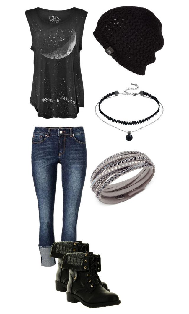 """Rock Concert Outfit"" by mimi-minecrafter ❤ liked on Polyvore featuring Refresh, UGG Australia and Swarovski"