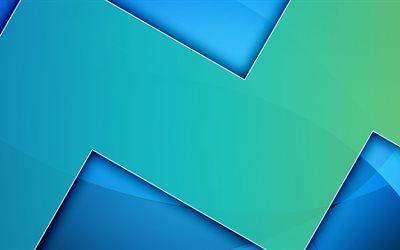 Scarica sfondi sfondo blu, 5k, android creativo, linee, geometria, materia astratta