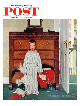 """Truth about Santa"" or ""Discovery"" Saturday Evening Post Cover, December 29,1956  Norman Rockwell"