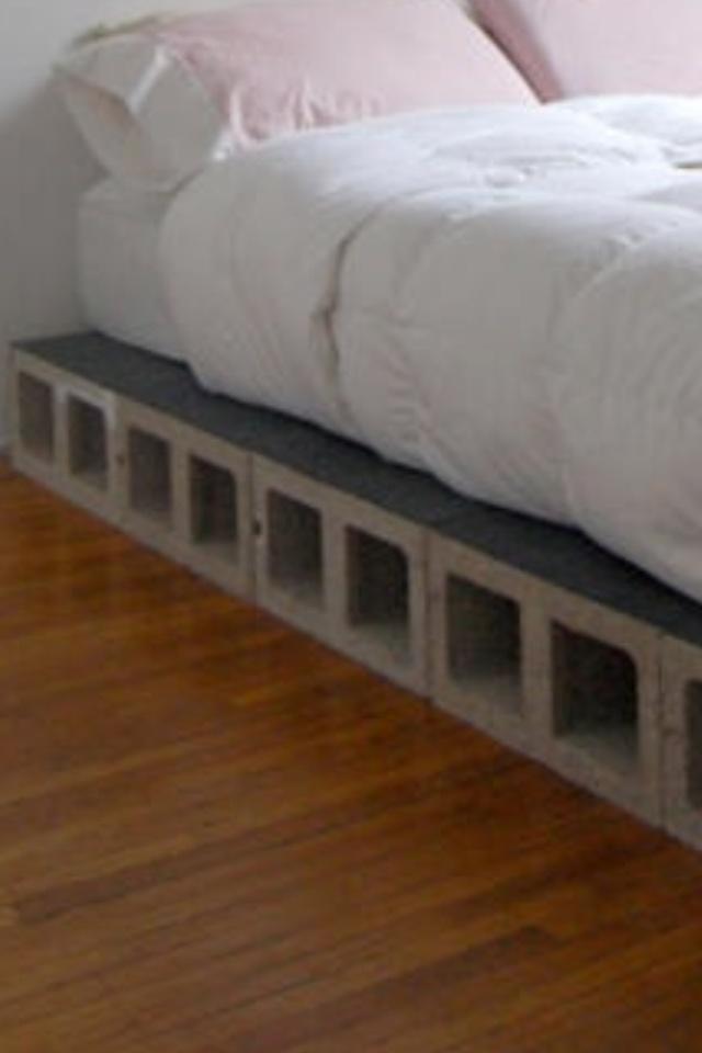 Cinder Block Bed String Lights Through The Holes Cinder